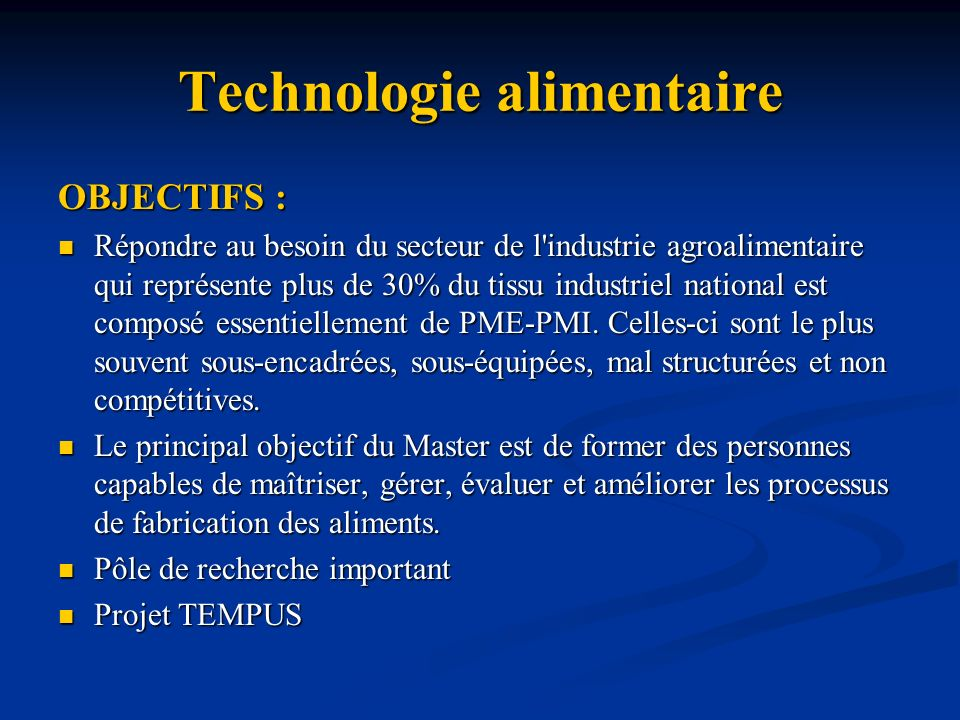 Technologie alimentaire
