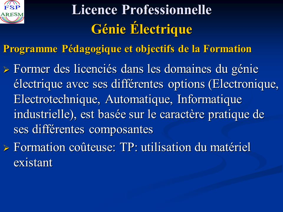 Licence Professionnelle Génie Électrique