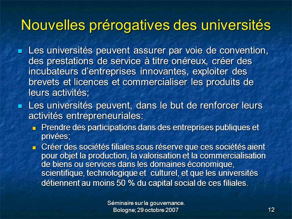 Nouvelles prérogatives des universités