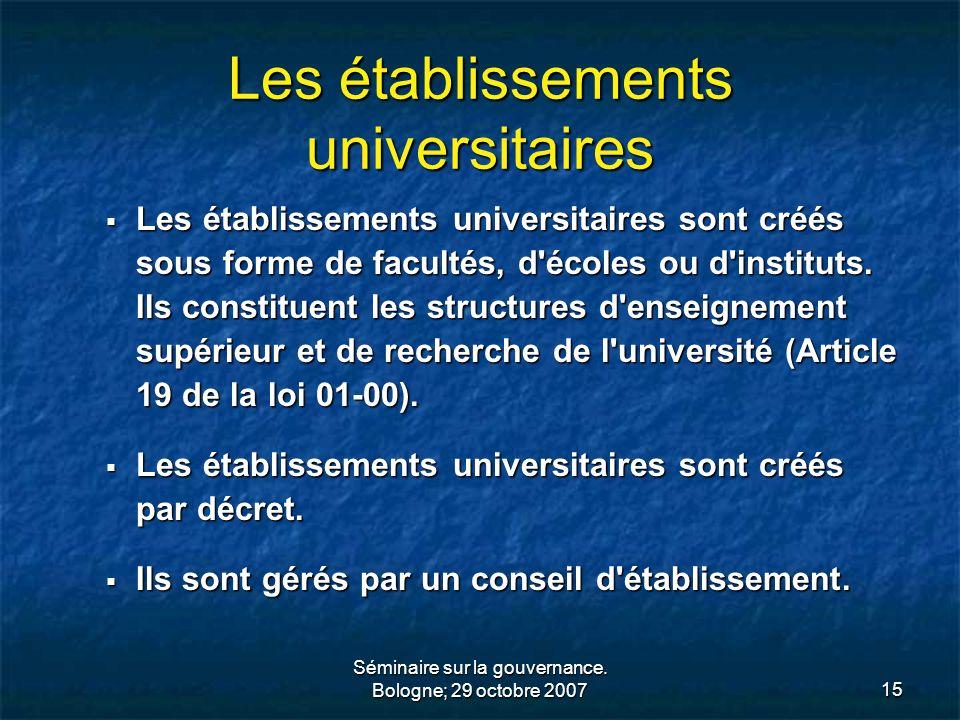 Les établissements universitaires