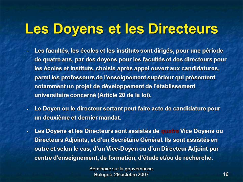 Les Doyens et les Directeurs
