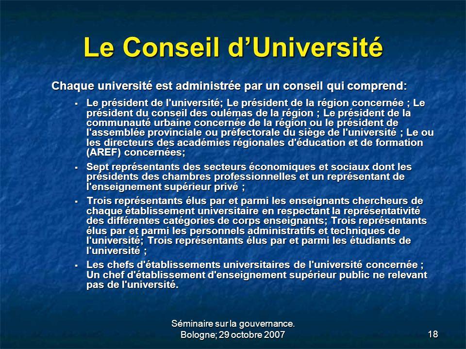 Le Conseil d'Université