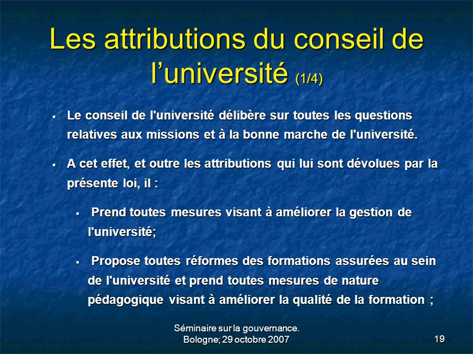 Les attributions du conseil de l'université (1/4)