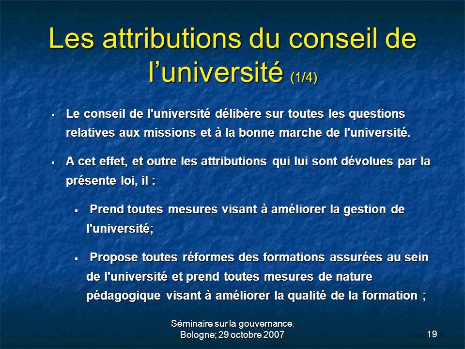 Les attributions du conseil de l'université (1/4)