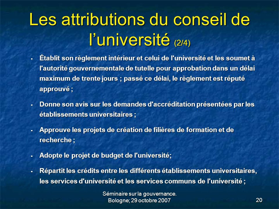 Les attributions du conseil de l'université (2/4)