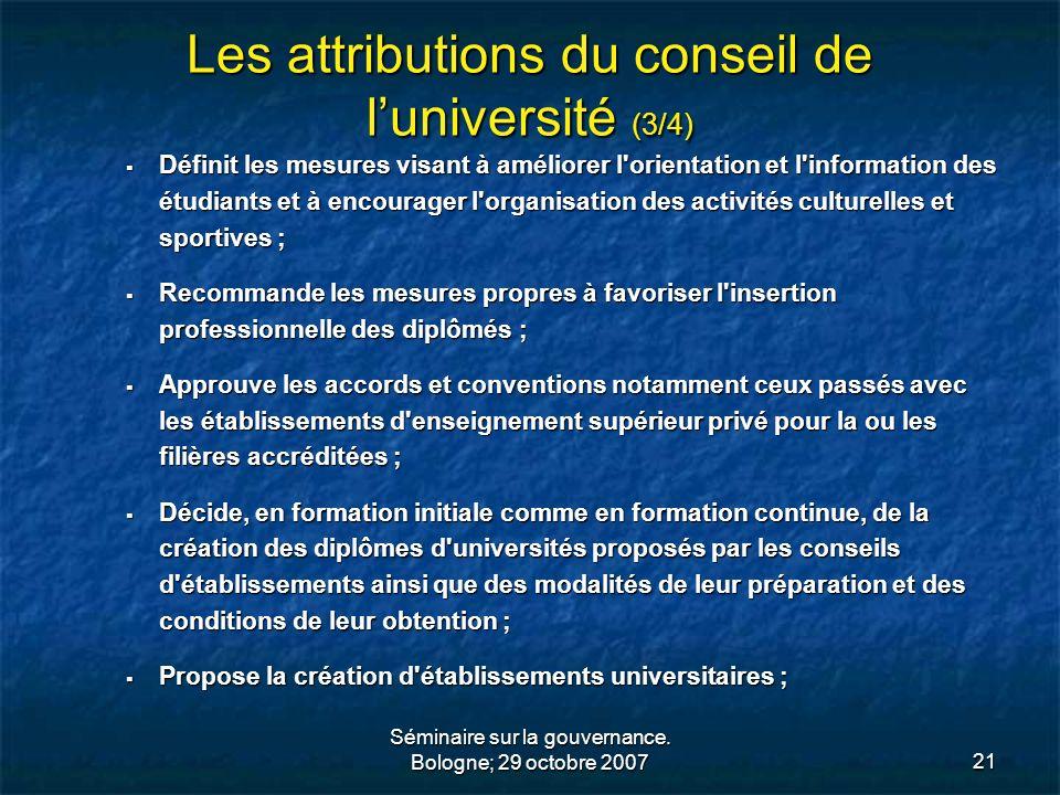 Les attributions du conseil de l'université (3/4)