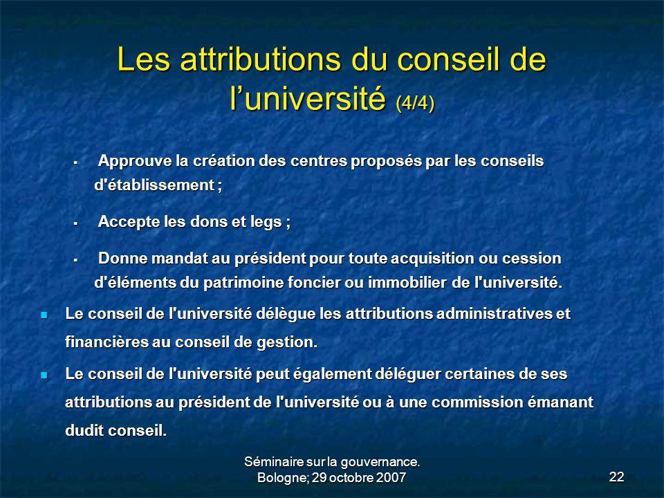 Les attributions du conseil de l'université (4/4)