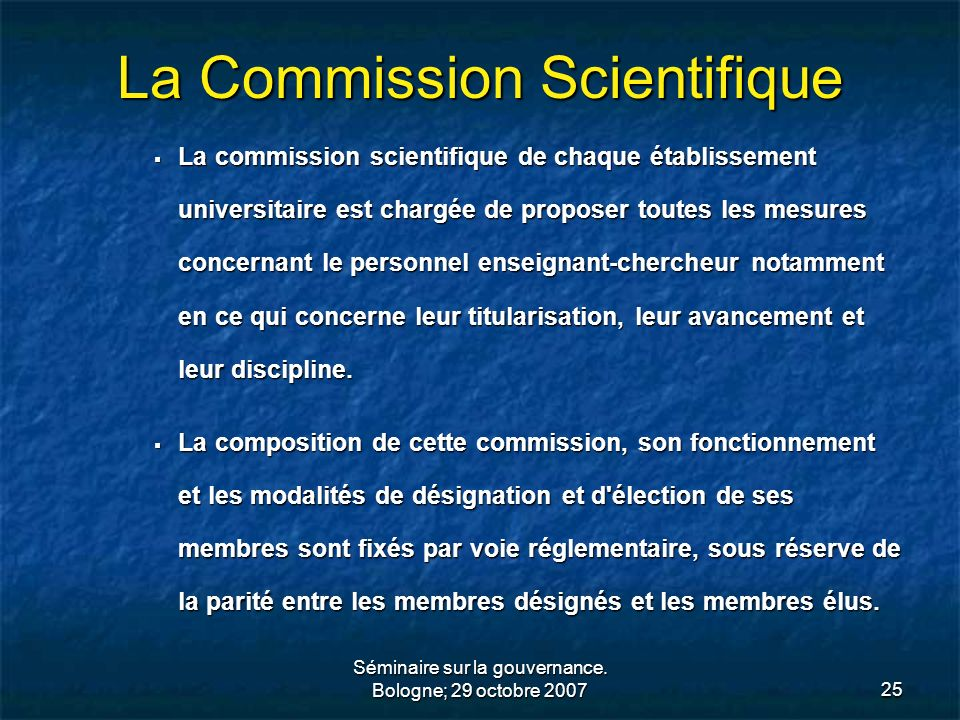 La Commission Scientifique