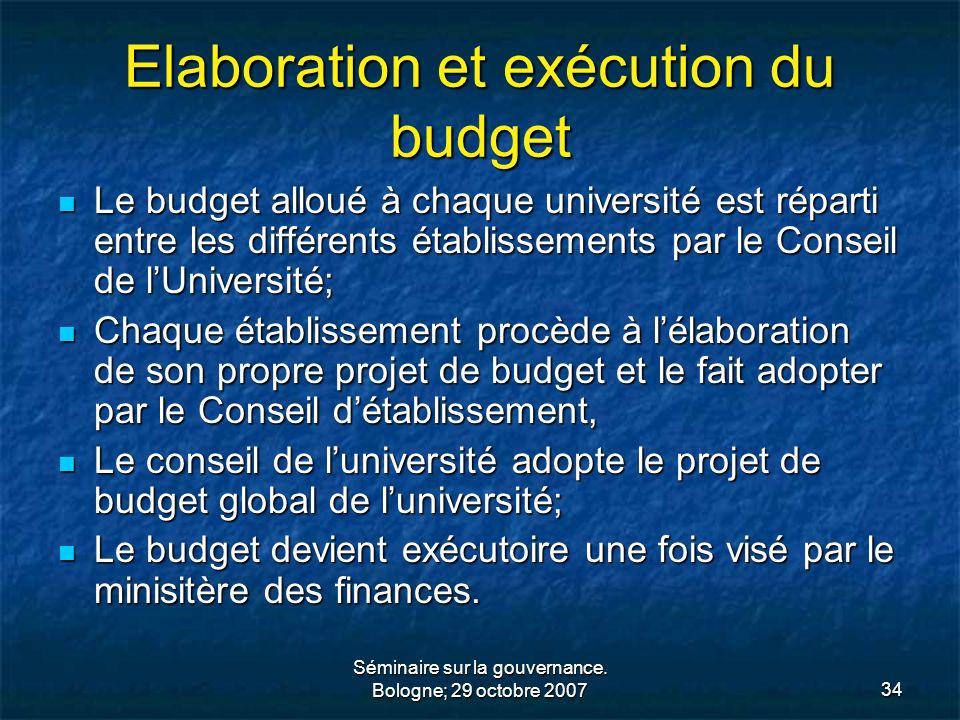 Elaboration et exécution du budget