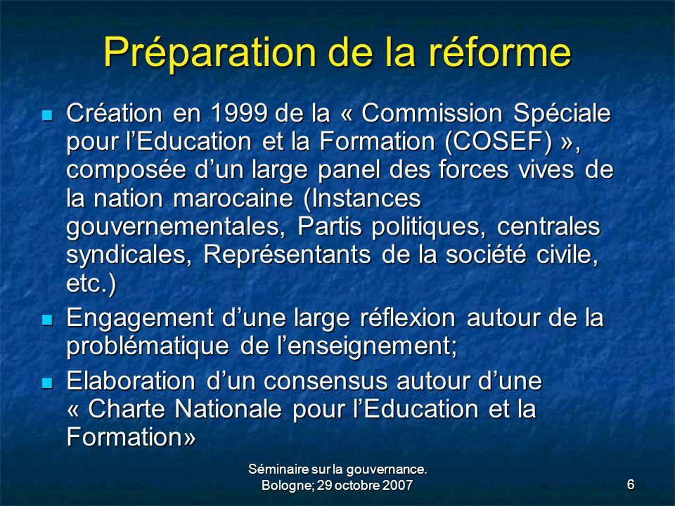 Préparation de la réforme