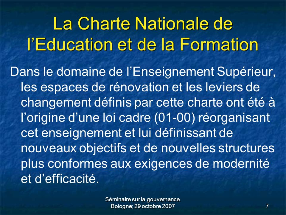 La Charte Nationale de l'Education et de la Formation