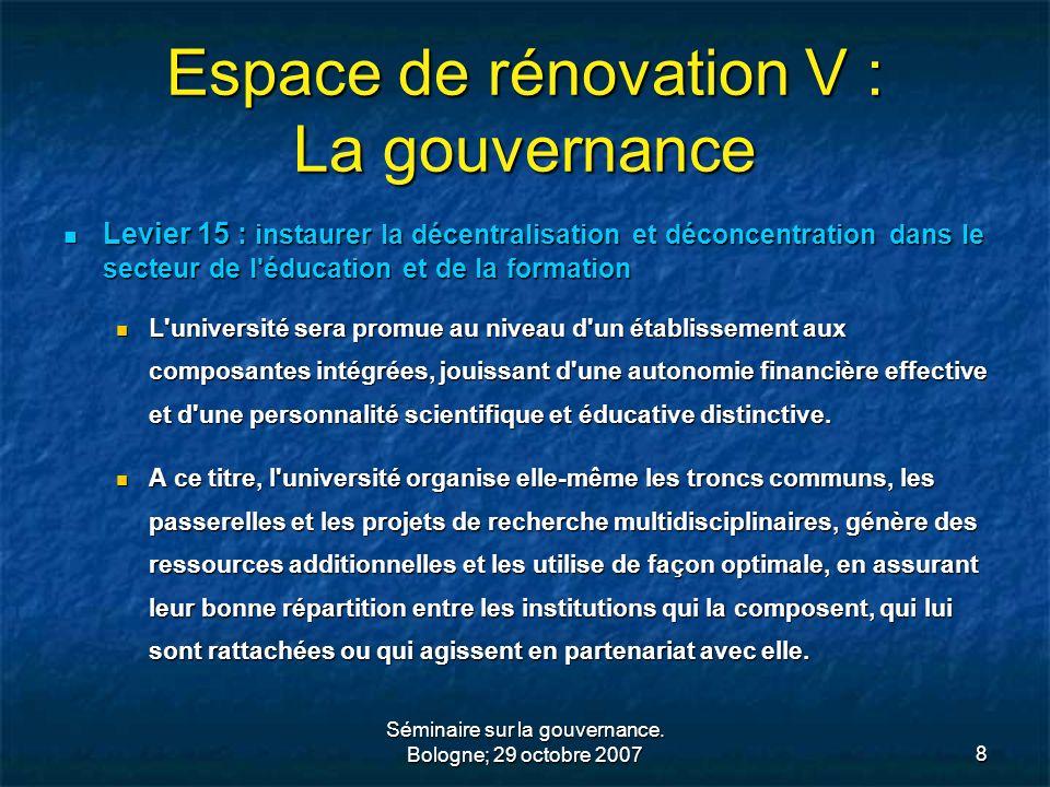 Espace de rénovation V : La gouvernance