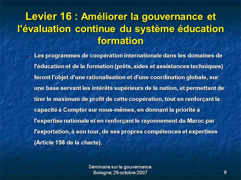 Séminaire sur la gouvernance. Bologne; 29 octobre 2007