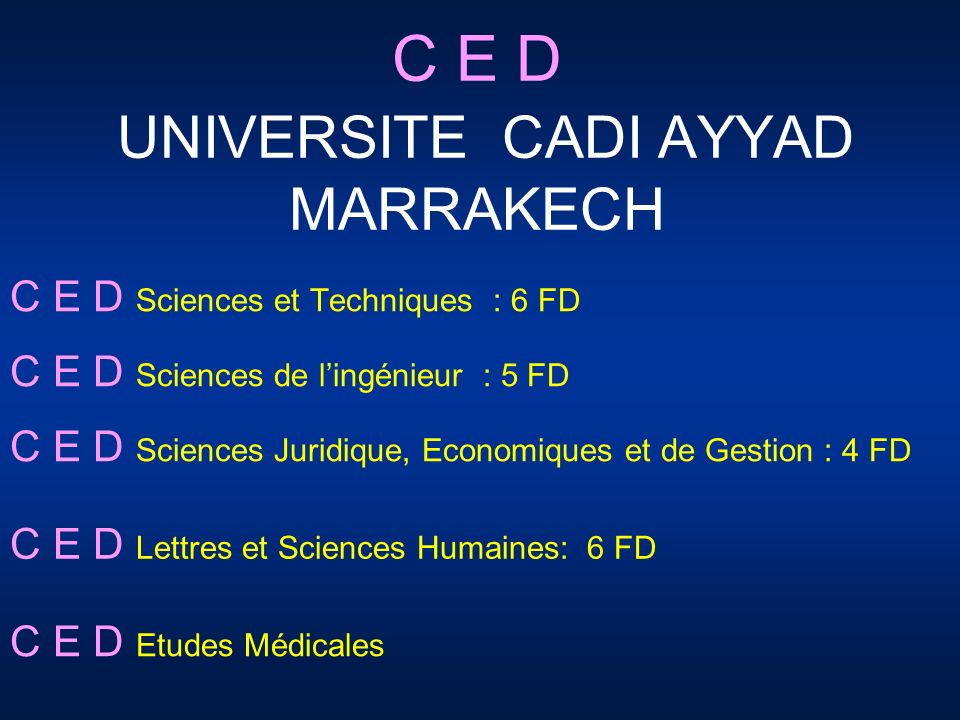 C E D UNIVERSITE CADI AYYAD MARRAKECH