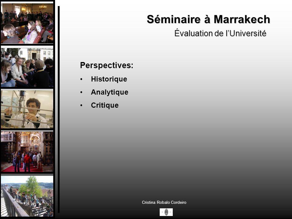 Séminaire à Marrakech Évaluation de l'Université Perspectives: