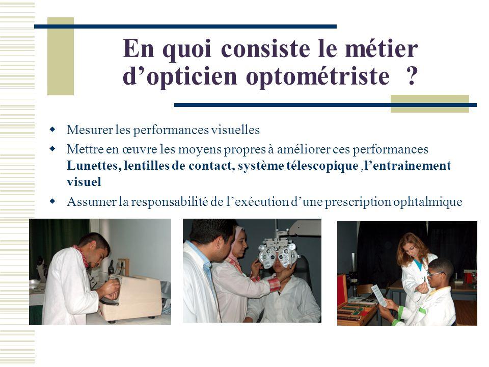 En quoi consiste le métier d'opticien optométriste