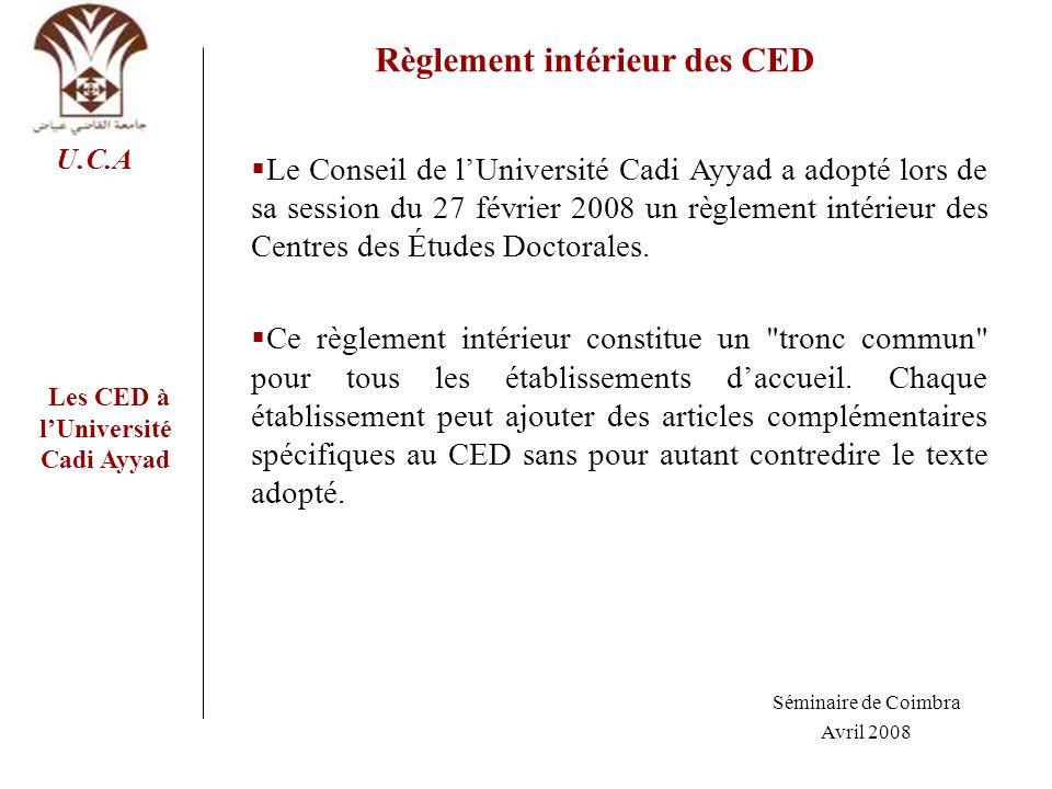 Règlement intérieur des CED Les CED à l'Université Cadi Ayyad