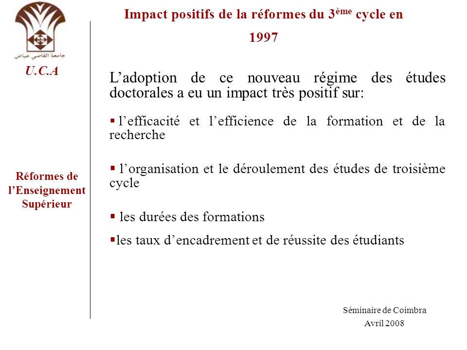 Impact positifs de la réformes du 3ème cycle en 1997
