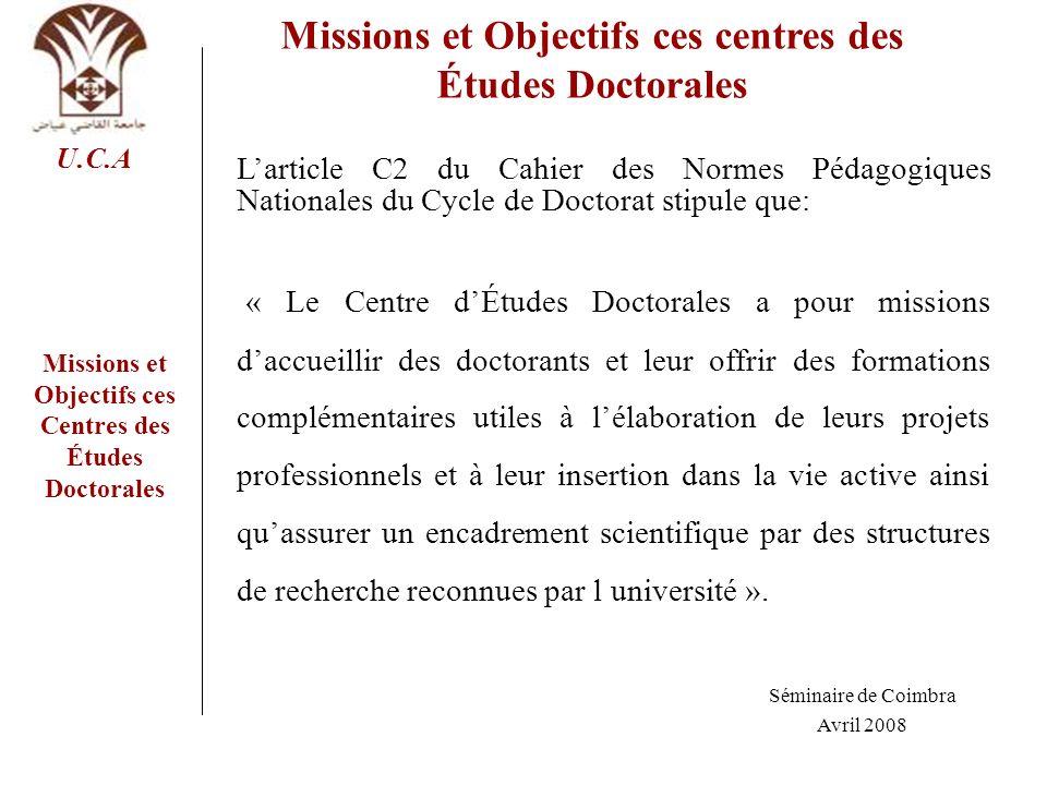 Missions et Objectifs ces centres des Études Doctorales