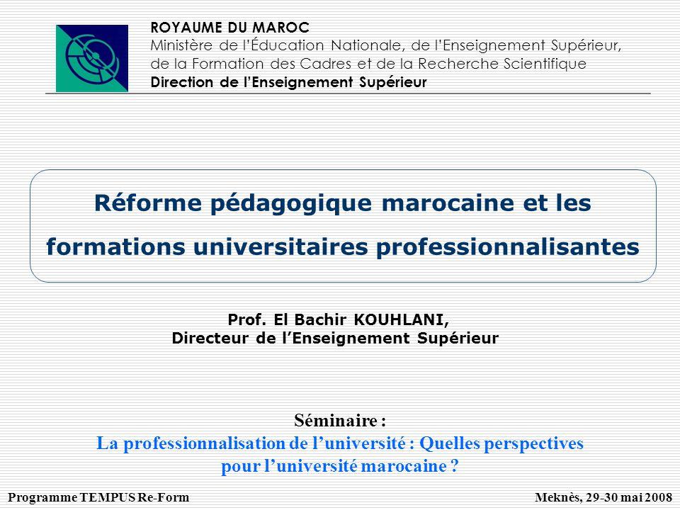 ROYAUME DU MAROC Ministère de l'Éducation Nationale, de l'Enseignement Supérieur, de la Formation des Cadres et de la Recherche Scientifique.