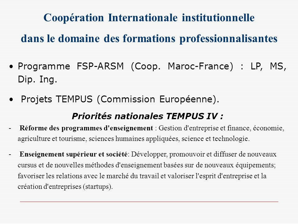 Coopération Internationale institutionnelle