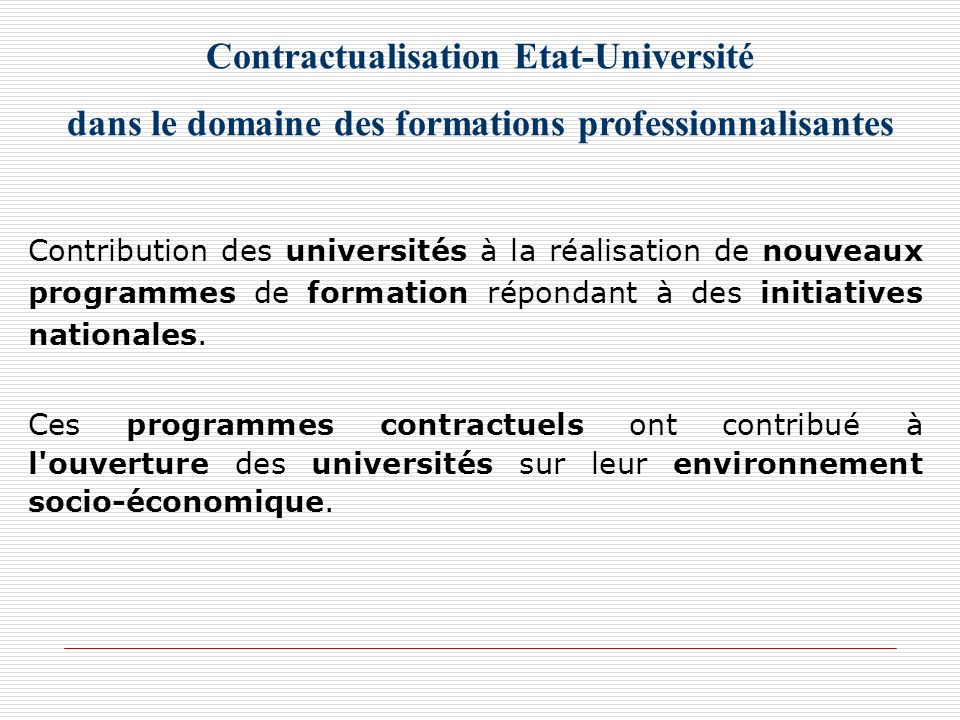 Contractualisation Etat-Université