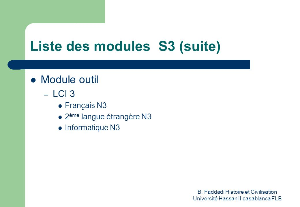 Liste des modules S3 (suite)
