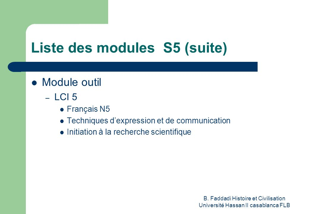 Liste des modules S5 (suite)