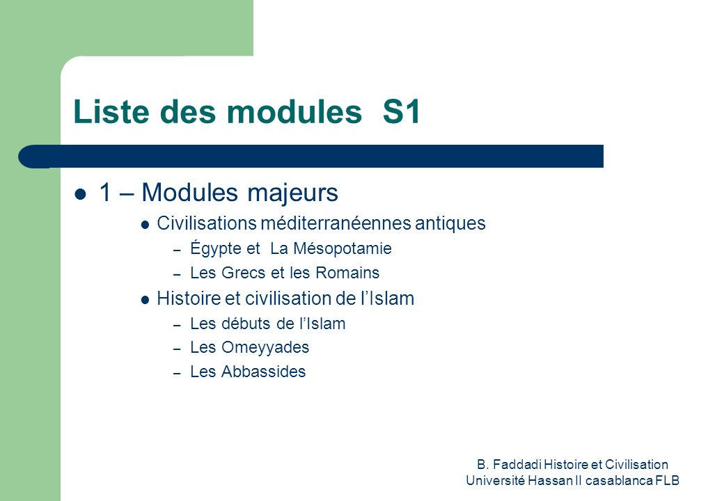 Liste des modules S1 1 – Modules majeurs