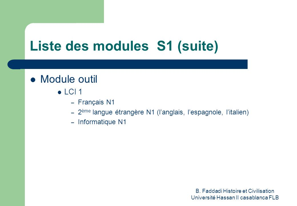 Liste des modules S1 (suite)