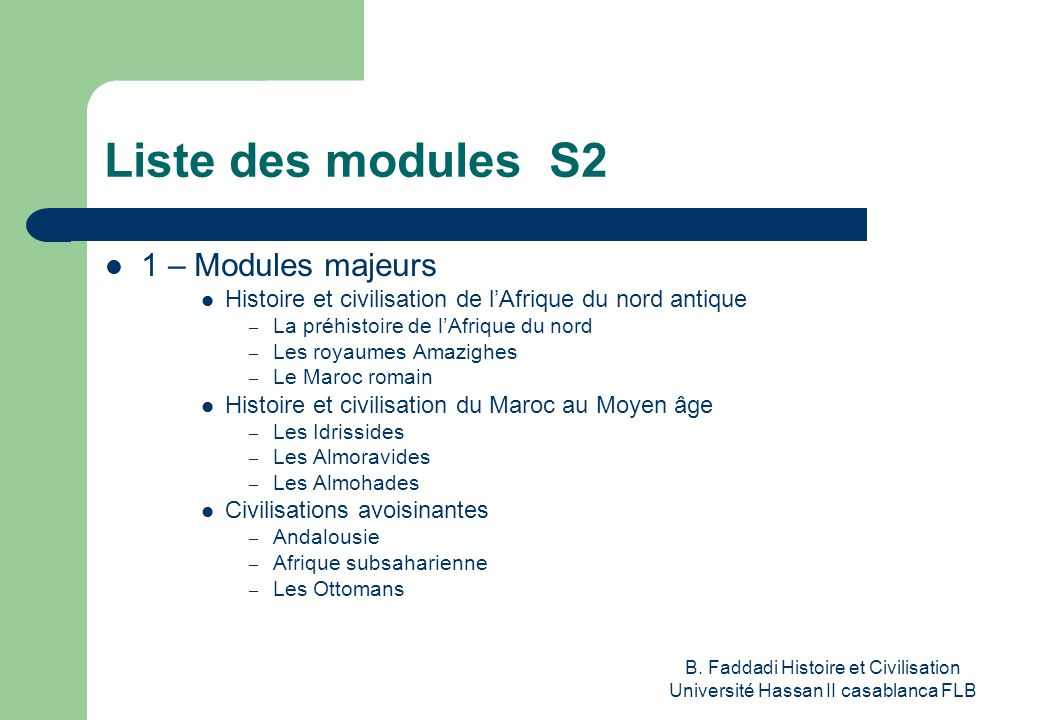 Liste des modules S2 1 – Modules majeurs