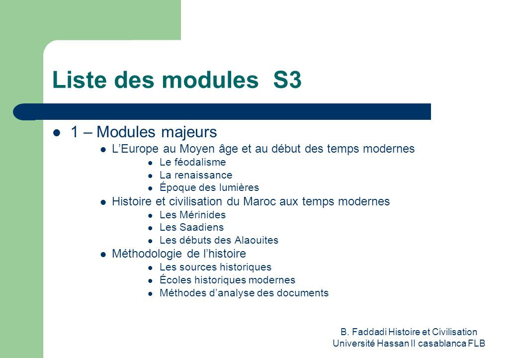 Liste des modules S3 1 – Modules majeurs