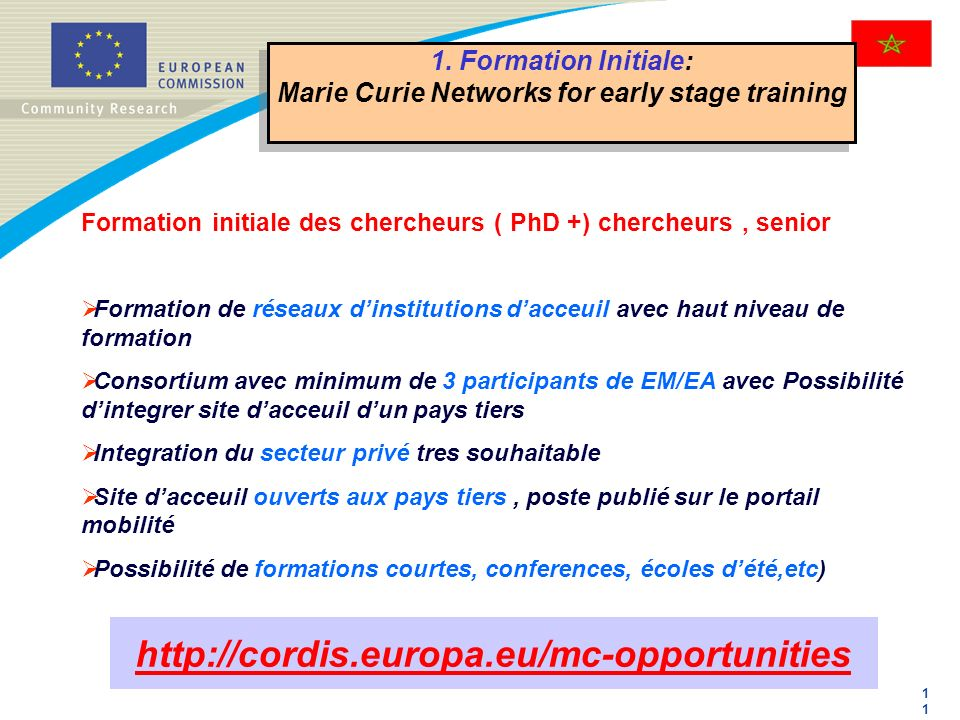 Marie Curie Networks for early stage training