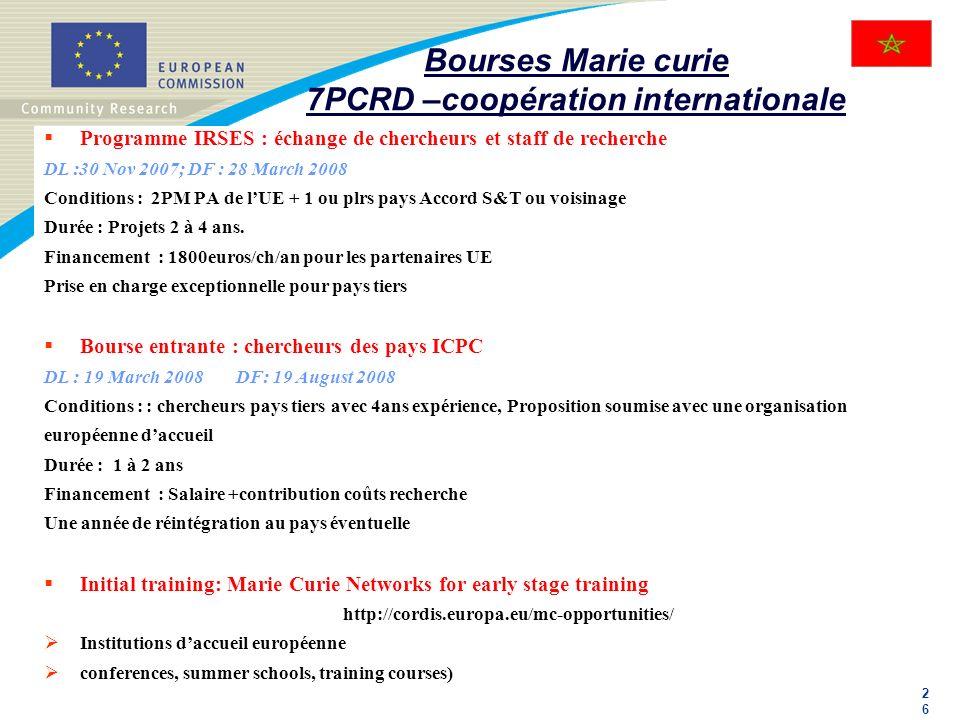Bourses Marie curie 7PCRD –coopération internationale