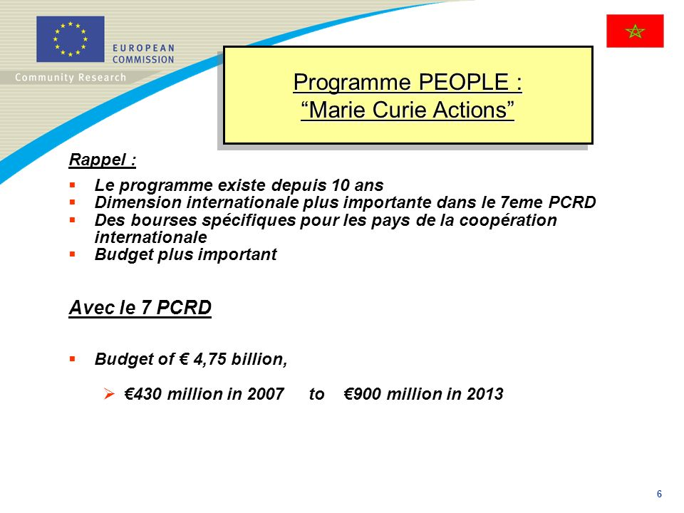 Programme PEOPLE : Marie Curie Actions
