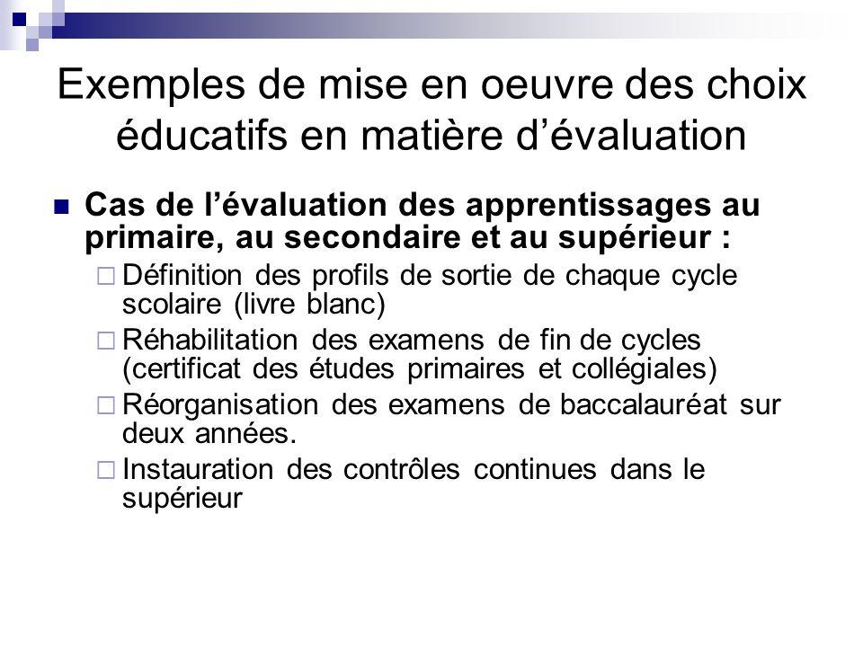 Exemples de mise en oeuvre des choix éducatifs en matière d'évaluation