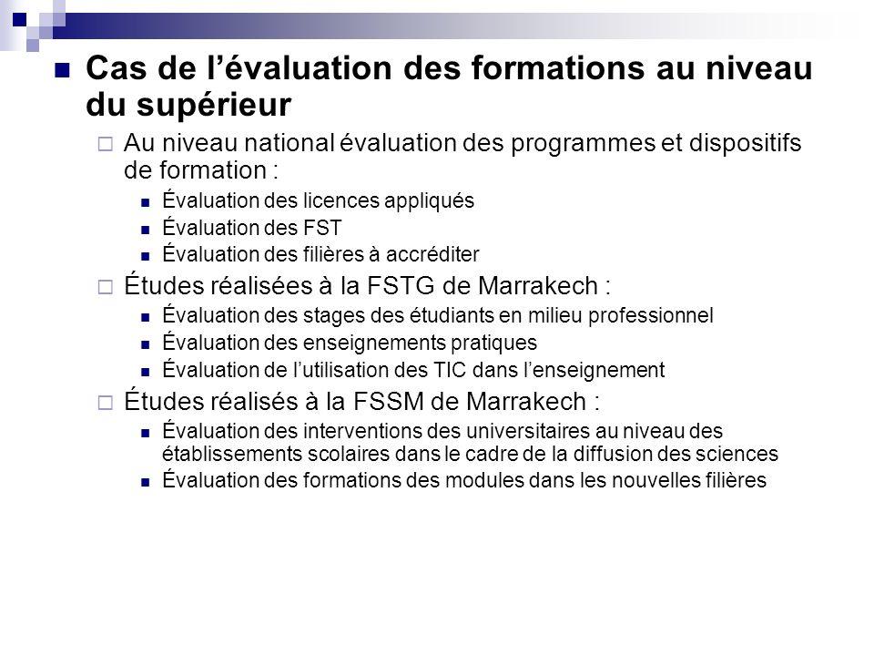 Cas de l'évaluation des formations au niveau du supérieur