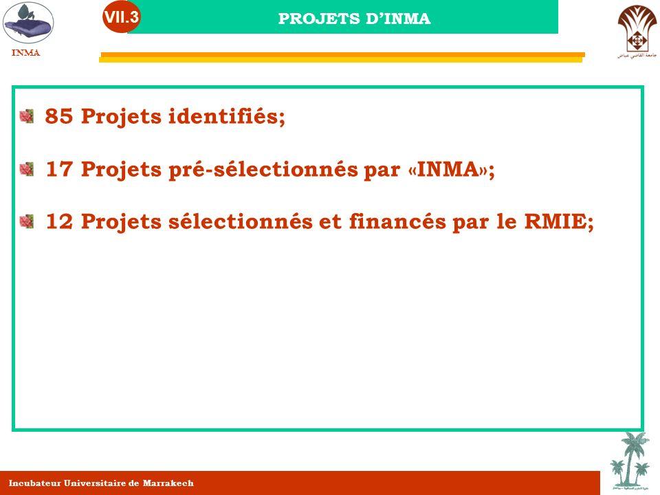 17 Projets pré-sélectionnés par «INMA»;