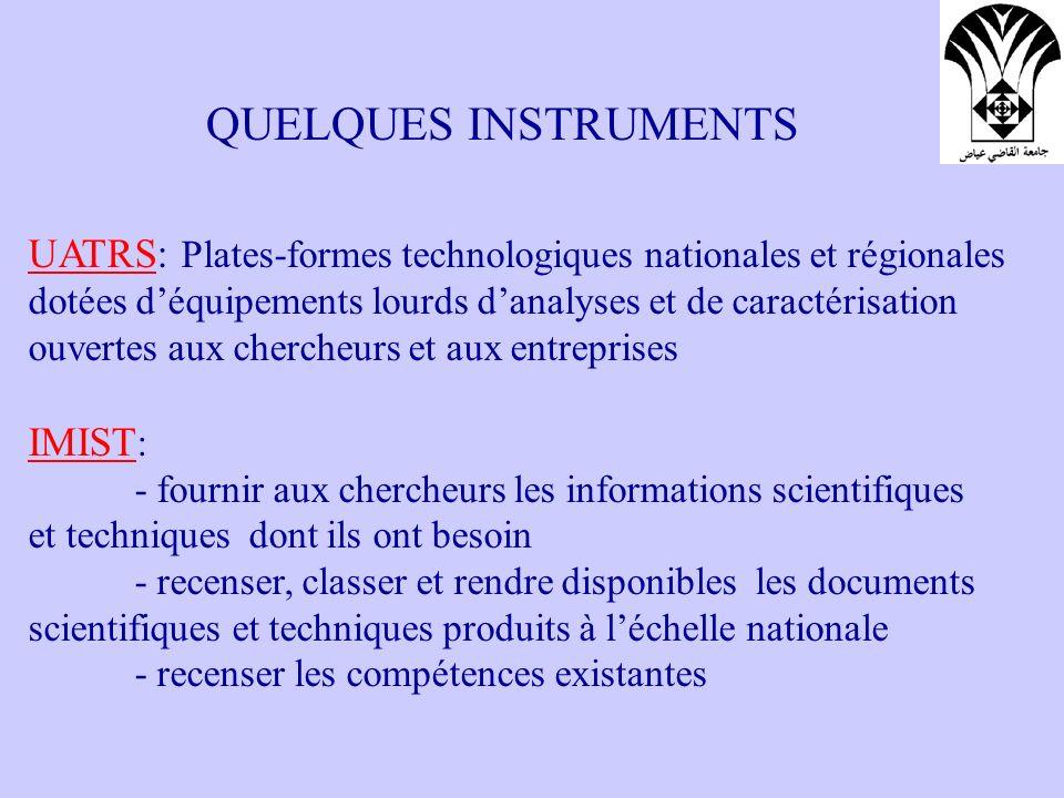 QUELQUES INSTRUMENTS UATRS: Plates-formes technologiques nationales et régionales. dotées d'équipements lourds d'analyses et de caractérisation.