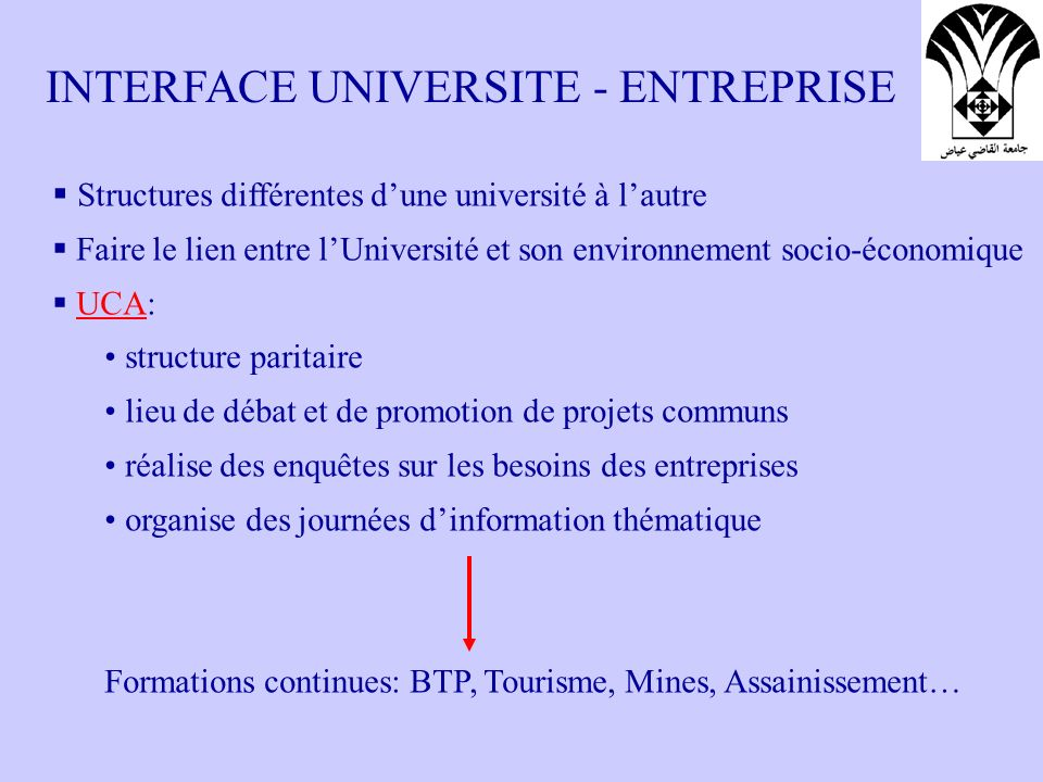 INTERFACE UNIVERSITE - ENTREPRISE