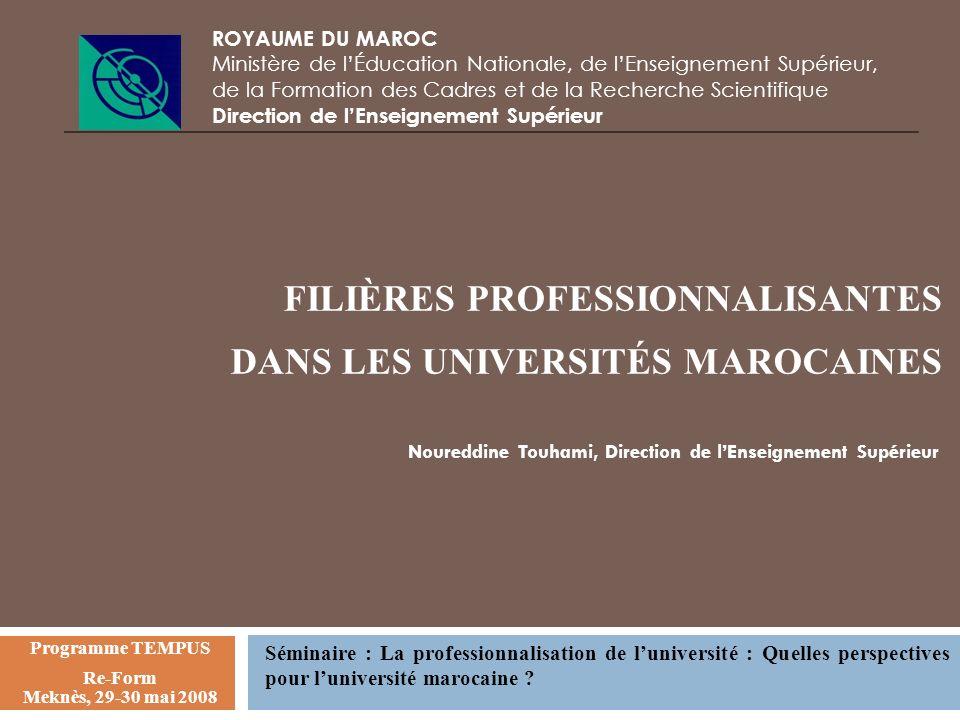 FILIÈRES PROFESSIONNALISANTES DANS LES UNIVERSITÉS MAROCAINES