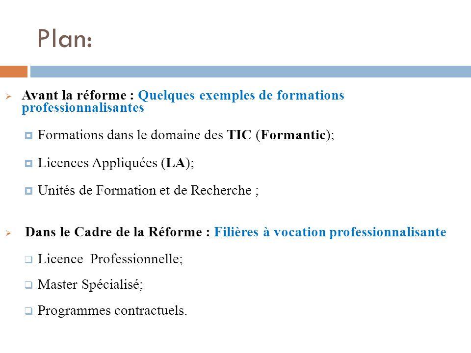 Plan: Avant la réforme : Quelques exemples de formations professionnalisantes. Formations dans le domaine des TIC (Formantic);