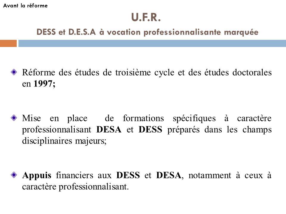 DESS et D.E.S.A à vocation professionnalisante marquée