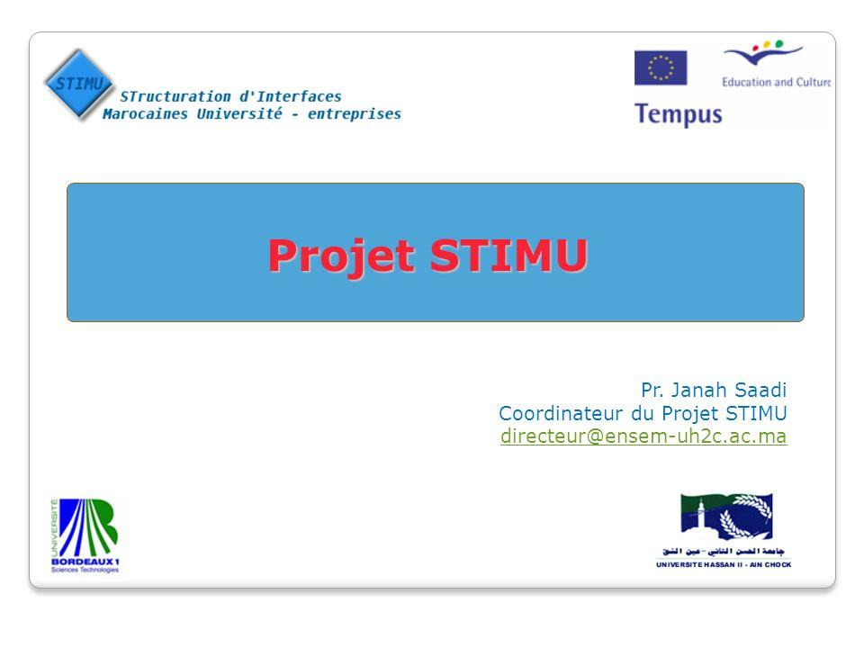 Projet STIMU Pr. Janah Saadi Coordinateur du Projet STIMU