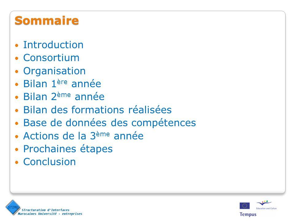 Sommaire Introduction Consortium Organisation Bilan 1ère année