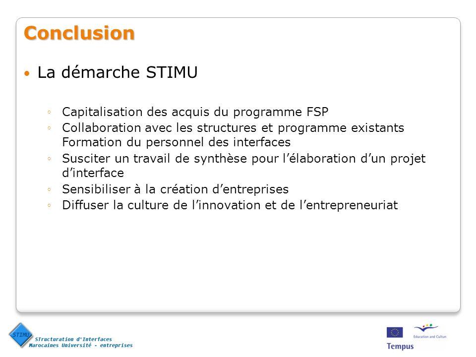 Conclusion La démarche STIMU
