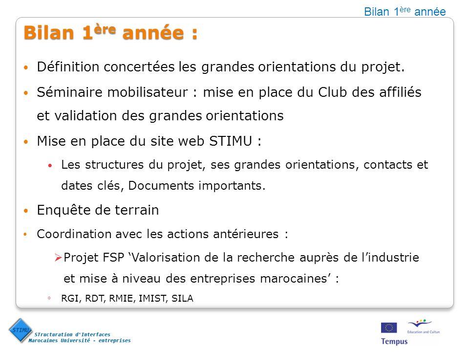 Bilan 1ère année Bilan 1ère année : Définition concertées les grandes orientations du projet.