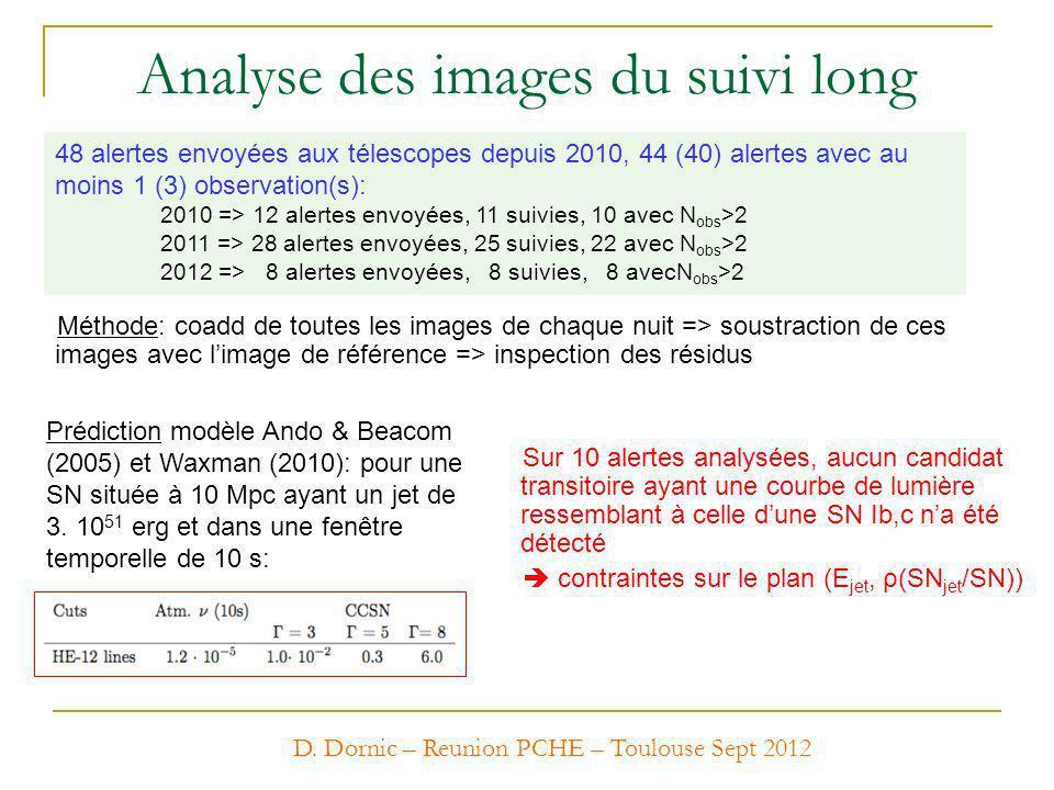 Analyse des images du suivi long