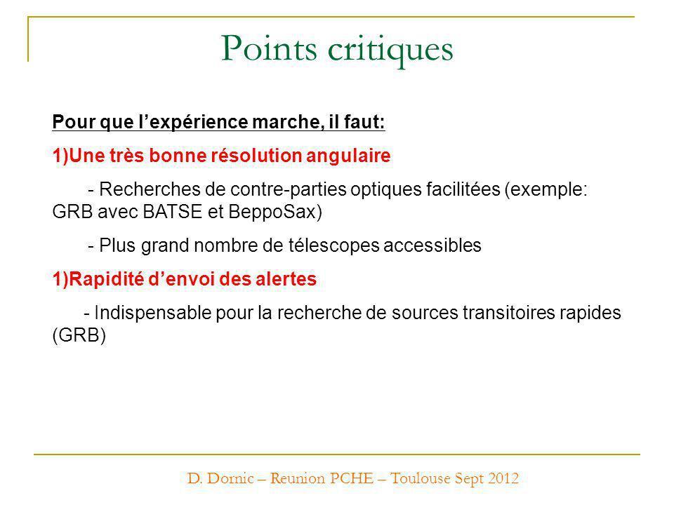 D. Dornic – Reunion PCHE – Toulouse Sept 2012