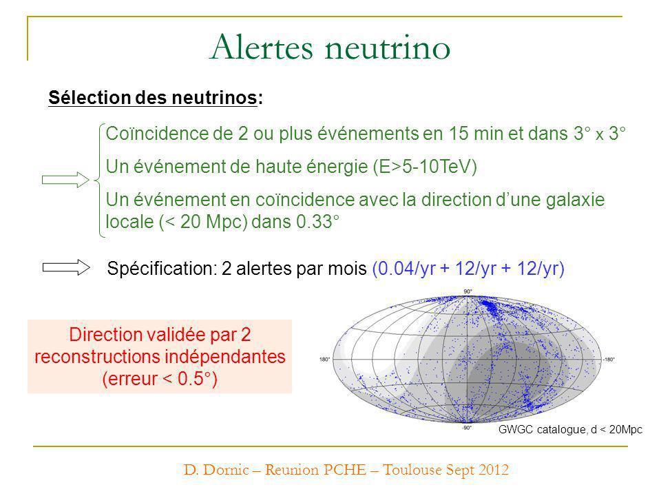 Sélection des neutrinos: